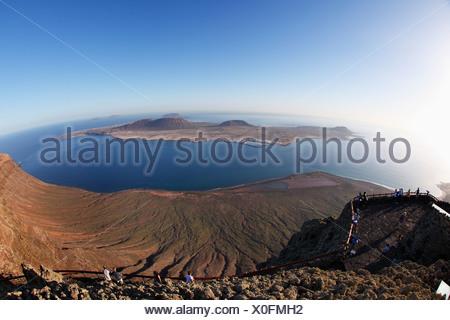 Insel La Graciosa, Blick vom Mirador del Rio, Lanzarote, Kanarische Inseln, Spanien, Europa - Stockfoto