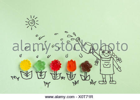 Aussenillustration Lachelndes Madchen Blumen Giessen Stockfoto Bild