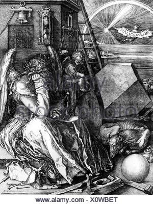 Bildende Kunst, Dürer, Albrecht (1471-1528), 'Melancholia I', Gravieren, 240 x 187 mm, Stadelmuseum, Frankfurt/Main, Artist's Urheberrecht nicht gelöscht werden - Stockfoto