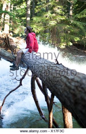 Ein junger Mann sitzt auf einem Baumstamm über einem Wasserfall in Idaho. - Stockfoto
