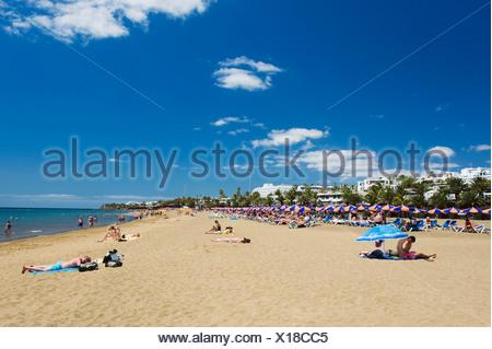 Sandstrand, Playa Grande, Puerto del Carmen, Lanzarote, Kanarische Inseln, Spanien, Europa - Stockfoto