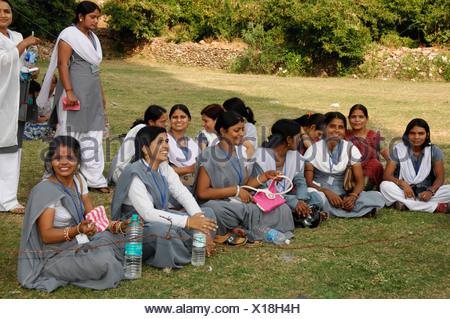 Junge Indische Frauen Kota Rajasthan Nordindien Asien Stockfoto