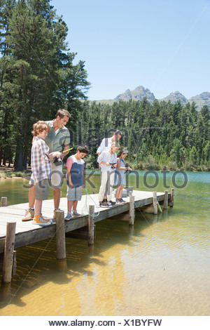 Familie Angeln Dock - Stockfoto