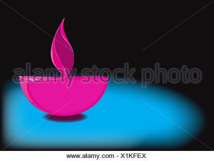 Diwali Öllampe auf blauem Hintergrund isoliert