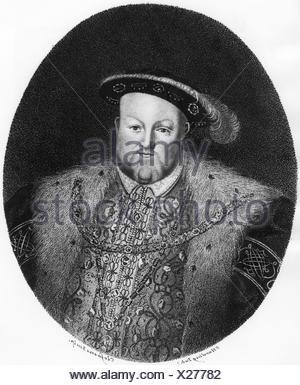 Heinrich VIII., 28.6.1491 - 28.1.1547, König von England 22.4.1509 - 28.1.1547, halbe Länge, Kupferstich von Clessens nach sylverster Harding (1745 - 1809), der Künstler das Urheberrecht nicht gelöscht werden Stockfoto