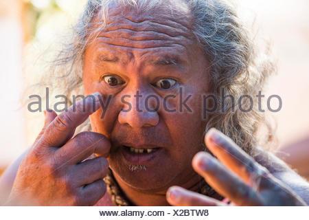 Molokai, lokale, Polynesian, kein Model-Release und Mann, USA, Hawaii, Amerika, Porträt,