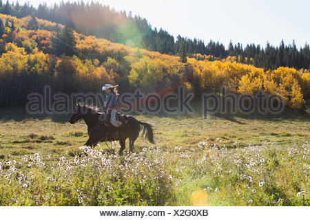 Frau Reiten in sonnigen herbstlichen Feld - Stockfoto
