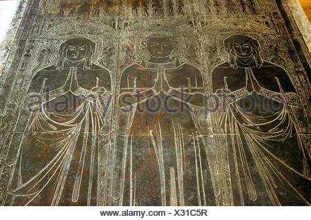 Robert Braunche und Frauen, Frau 1364, flämische monumentale Messing, St. Margarets, Kings Lynn Norfolk England UK Englisch Messing - Stockfoto