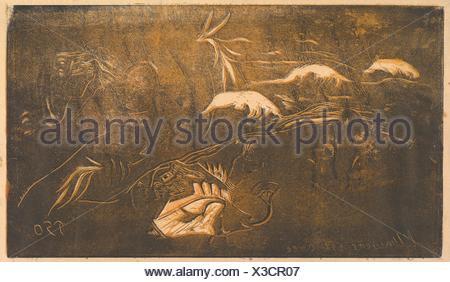 Das Universum wird erstellt. Serie/Portfolio: Noa Noa (Duft); Künstler: Paul Gauguin (Französisch, Paris 1848-1903 Atuona, Hiva Oa, Marquesas Inseln); - Stockfoto
