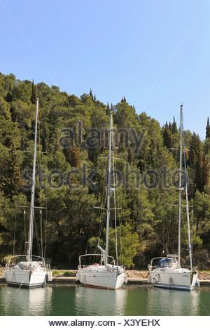 Segelboote im Hafen, Skradin, Kroatien, Europa - Stockfoto