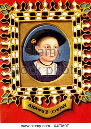 Edward VI., 12.10.1537 - 6.7.1553, König von England 25.1.1547 - 6.7.1553, Kinderporträt, Druck nach Miniatur von Hans Holbein dem Jüngeren, 1543, Stockfoto
