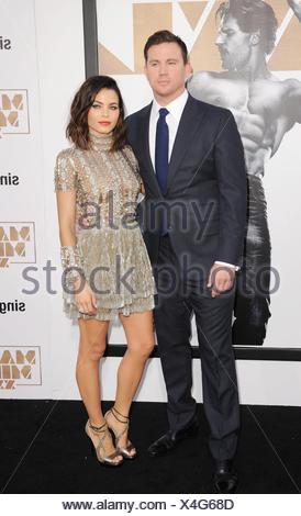 Schauspieler Channing Tatum (L) und Jenna Dewan-Tatum kommen an der Los Angeles Weltpremiere von Warner Bros. Pictures' 'Magic Mike XXL' an TCL Chinese Theater IMAX am 25. Juni in Hollywood, Kalifornien, 2015., Additional-Rights-Spiel-NA - Stockfoto