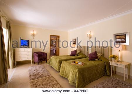 Modernes Schlafzimmer Mit Brust Und Fernsehen Stockfoto Bild