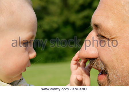 Baby-grabbing für Großvaters Nase, Deutschland - Stockfoto
