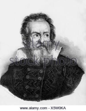 Galilei, Galileo, 15.2.1564 - 8.1.1642, italienischer Physiker, Porträt, Stahlstich, Jahrhundert, Artist's Urheberrecht nicht gelöscht werden - Stockfoto
