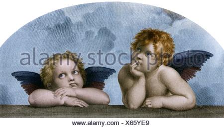"""Bildende Kunst, Raphael Santi: """"Die Engel der Sixtinischen Madonna"""", Lichtdruck, nach einem Kupferstich von M. Rommel, Stuttgart, Additional-Rights - Clearences-NA - Stockfoto"""
