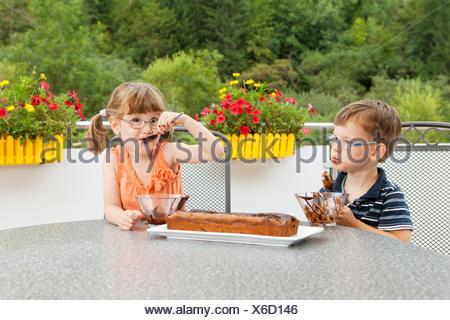Kinder Beim Schokoladenkuchen Verzieren Stockfoto Bild 145227270