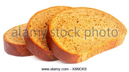 In Scheiben geschnittenen frischen Roggenbrot, isoliert auf dem weißen - Stockfoto