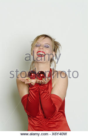 Frau Abend Kleid Armel Tops Geste Weihnachtsbaum Kugel Frauen