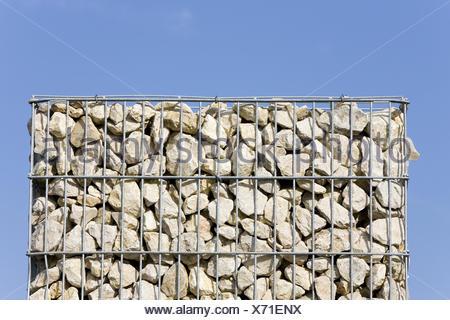 Drahtkorb, Steinen, gefüllt, Himmel, blau, Gabione, Schüttkorb ...