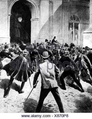 Charles, I, 28.9.1863 - 1.2.1908, König von Portugal, 80-1908, Tod, Attentat in Lissabon, 1.2.1908, zeitgenössische Illustration, - Stockfoto