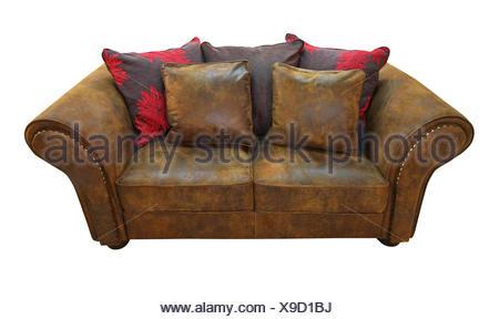 Braunes Leder Sofa Isoliert Enthalten Freistellungspfad Stockfoto