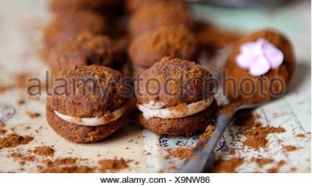 Gefüllte Schokoladen-Plätzchen (Baci) - Stockfoto