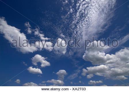 Cirruswolken vor blauem Himmel, Wolken und Cumulus-Wolken - Stockfoto