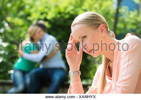 Close-up von Depressiven jungen Frau - Stockfoto