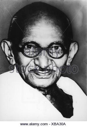 Mohandas Karamchand Gandhi, genannt Mahatma, 2.10.1869 - 30.1.1948, Indischer Politiker, Porträt, 1930er Jahre,, Additional-Rights-Spiel-NA - Stockfoto