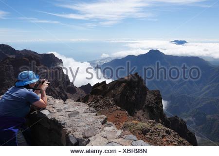 Blick vom Roque de Los Muchachos, Caldera de Taburiente National Park, La Palma, Kanarische Inseln, Spanien, Europa - Stockfoto