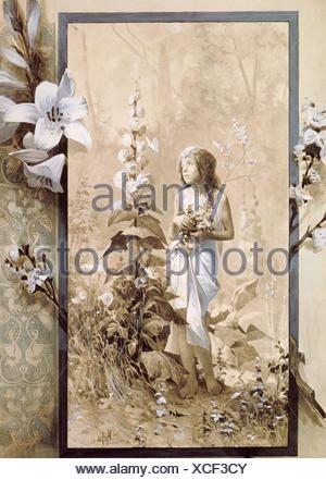 Bildende Kunst, Mucha, Alphonse (1860 - 1939), Malerei, junges Mädchen,, Artist's Urheberrecht nicht gelöscht werden