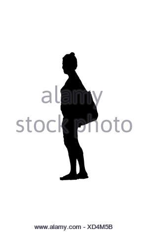 Seitenansicht Frau mit Tasche Silhouette - Stockfoto