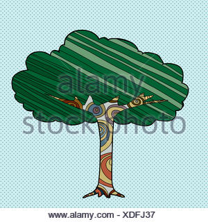 Abstrakte Baum mit Linien und Kreisen über blaue Halbton-Hintergrund - Stockfoto