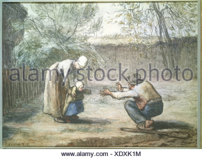 """""""Fine Arts, Hirse, Jean-Francois (1814-1875), Zeichnung,""""The First Steps"""", Privatsammlung, Augsburg, Französisch, Realismus, Sc"""