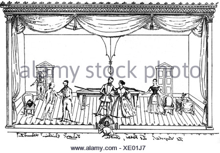 Lortzing, Albert, 23.10.1801 - 21.01.1851, deutscher Komponist, Werke, Oper 'Der Wildschuetz' (Der Poacher), Billardszene,