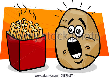 Kartoffel mit Pommes frites cartoon - Stockfoto