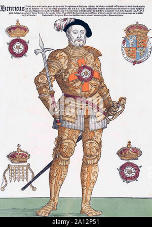 El rey Enrique VIII de Inglaterra, 1491 - 1547. Después de un grabado contemporáneo. Posteriormente colourisation. Foto de stock