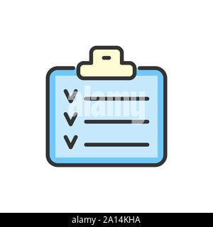 Lista de control de vectores, planificador, calendario, bloc de notas de color plana icono de línea.