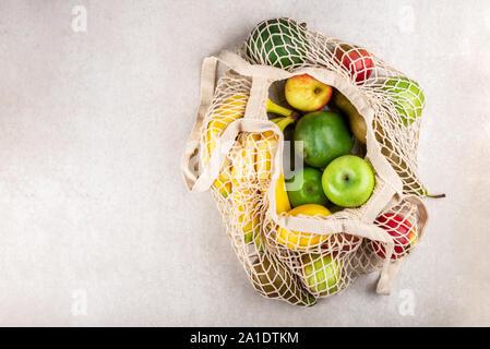 Hilo de algodón una bolsa de malla, Tote Compras reutilizable para despensa con frutas, ecológico cero residuos y decir no a los conceptos de plástico
