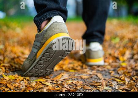 Caminar sobre el pavimento en otoño. Vista posterior de los pies de un hombre que camina por la acera con follaje caído. El clima de otoño en blanco vacío abstracto backgro