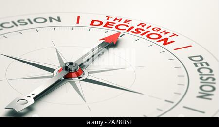 Brújula conceptual con la aguja apuntando hacia la decisión correcta. Criterio Comercial concepto. Ilustración 3D.