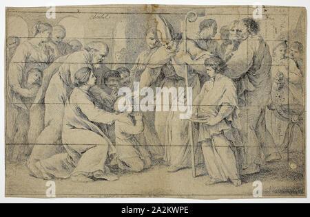 La confirmación, c. 1730, Pierre Charles Trémolières, Francés, 1703-1739, Francia, grabado en color marrón a marrón sentado el papel, 270 × 421 mm