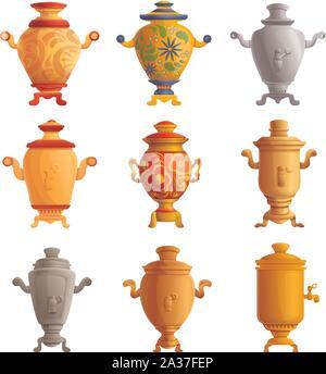 Iconos de samovar. Conjunto de dibujos animados de samovar vector iconos para diseño web