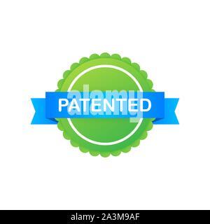 Green Label patentada de cinta azul sobre fondo blanco. Ilustración vectorial.