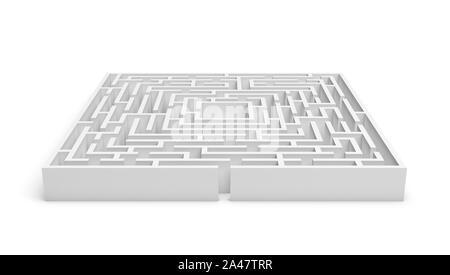 Representación 3D de un laberinto cuadrado blanco sobre fondo blanco. Laberintos y laberintos. Secretos y rompecabezas. Problemas y soluciones.