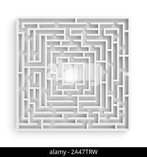 Representación 3D de un laberinto cuadrado blanco sobre fondo blanco en la vista frontal. Laberintos y laberintos. Secretos y rompecabezas. Problemas y soluciones.