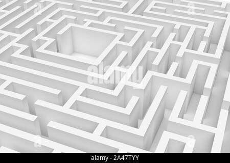 Representación 3D de un cuadrado blanco laberinto en primer plano sobre fondo blanco. Laberintos y laberintos. Secretos y rompecabezas. Problemas y soluciones.