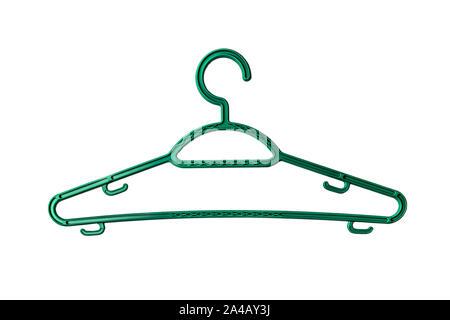 Colgador de plástico verde aislado sobre fondo blanco con trazado de recorte