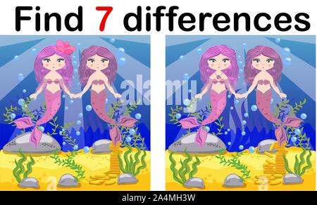 Encontrar diferencias, juegos para niños, el Mermaid bajo el agua con el estilo de dibujos animados, juego para niños de educación preescolar, la actividad de la hoja de cálculo, una tarea para la developm